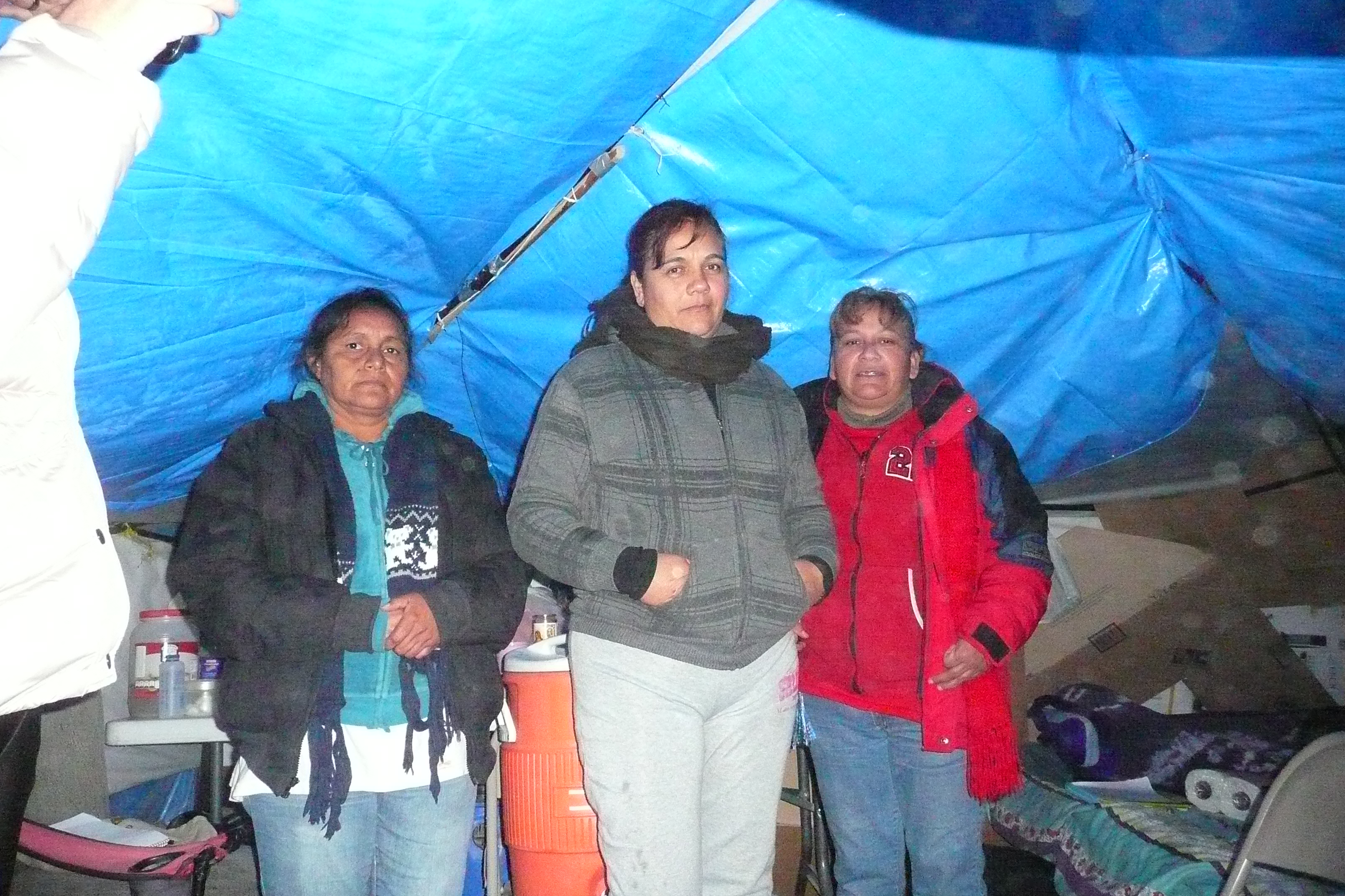 Striking Lexmark workers inside tents where they eat and sleep