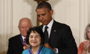 Dolores Huerta with Obama
